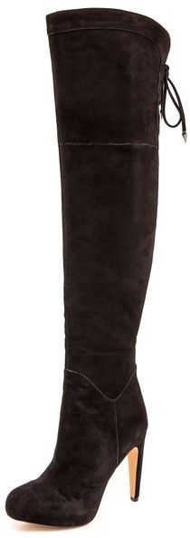 Sam Edelman Kayla Suede Over the Knee Boots Velvety suede Sam Edelman boots in a sexy, over-the-knee design. A leather cord laces up the top line. Concealed side zip. Hidden platform and sculpted heel. Rubber sole. Leather: Kidskin.