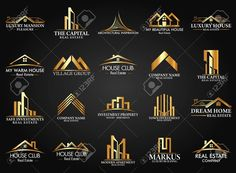 Set And Group Real Estate Building And Construction Vector Logo Royalty Free Cliparts Vectors And Stock Illustration. Corporate Logo Design, Business Card Design, Branding Design, Bauunternehmen Logo, Construction Company Logo, Construction Design, Construction Companies, Construction Business, Construction Birthday