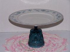 Cake Cupcake Plate Stand Blue Glass Pedestal Repurposed Serving