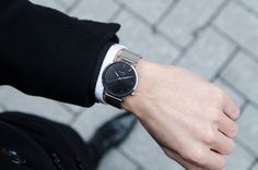 Suit up! and style it with our Black Code Watch with the Silver Mesh Strap.