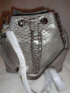 f0a1b8a67789 Michael Kors Silver Python Emboss Frankie Drawstring Shoulder Bag Purse for  sale online | eBay