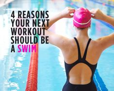4 Reasons Your Next Workout Should Be a Swim! Swimming is awesome cardio, completely no-impact on your joints, and a calorie-torching total-body workout. Fitness Tips, Fitness Motivation, Health Fitness, Women's Health, Swimming Body, Swimming Sport, Back Workout Routine, Pilates, Pool Workout