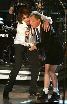 Angus Young and Steven Tyler.