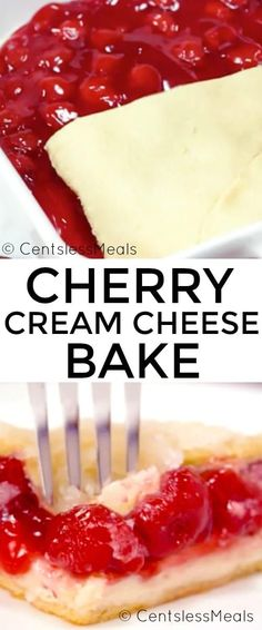 Cherry Cream Cheese Bake is a simple and easy dessert that everyone loves! Layers of smooth cream cheese, sweet and tart cherry pie filling and crescent rolls are topped with a delicious sugary topping. The results are amazing!