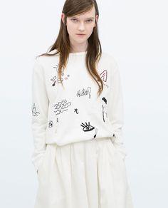 EMBROIDERED SWEATSHIRT-T-shirts-WOMAN | ZARA United States