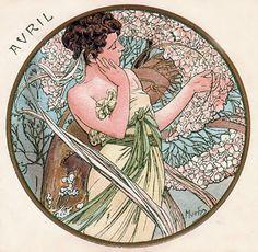 Alphonse Mucha - Month's of the Year - April - Art Nouveau