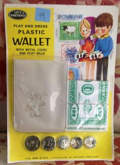 Vintage Play Toy Money Bills Metal Coins With Wallet Set.
