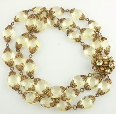 Miriam Haskell Perfectly Pale Yellow Crystal Necklace *1950's  http://www.rubylane.com