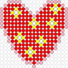 Kralenplank Hart 1 Fuse Bead Patterns, Kandi Patterns, Perler Patterns, Beading Patterns, Beard Jewelry, Fuse Beads, Valentine Day Crafts, Material Design, Pearl Beads