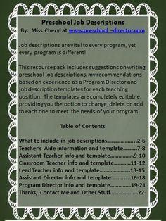 preschool job description resource packet with editable templates for the following job descriptions teachers aide teacher aides job description