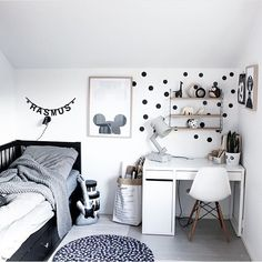 Home kids room interior design inspiration black and white minimalist simpl Scandinavian Kids Rooms, Scandinavian Design, Table Decor Living Room, Kids Room Design, My New Room, Boy Room, Room Inspiration, Design Inspiration, Kids Bedroom