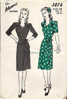 Vintage 1945 Sweetheart Neckline Dress Pattern Side by sydcam123