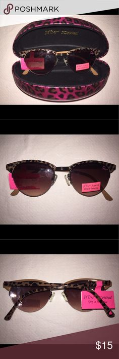Betsey Johnson Leopard Print Sunglasses w/ Case This gorgeous pair of Betsey Johnson sunglasses features cool leopard print frames and includes a matching pink leopard print Betsey Johnson large hard case. They are brand-new with tag. If you have any questions, please ask! Betsey Johnson Accessories Sunglasses