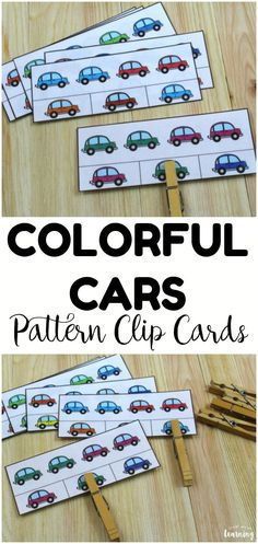 These Colorful Cars basic pattern clip cards are great for practicing pattern making at math centers! Use them with early learners! Transportation Activities, Toddler Activities, Preschool Activities, Color Activities, Preschool At Home, Preschool Crafts, Toddler Learning, Early Learning, Easy Arts And Crafts