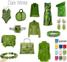 Pantone Greenery for the 3 Winters — 12 Blueprints Paleta Deep Winter, Deep Winter Palette, Deep Winter Colors, Warm And Cool Colors, Dark Autumn, Dark Winter, Winter Looks, Pantone Greenery, Winter Typ