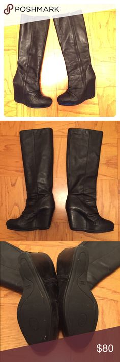 ASH tall wedge boots. Bunched leather look! MOST COMFORTABLE heels ever! They are like sneakers. Missing the circle piece attached to one of the zippers but barely noticeable! I've received so many so many compliments on them! Ash Shoes Heeled Boots