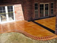 Clay, Brick Border Concrete Patios Red River Concrete Designs Ardmore, OK Concrete Walkway, Concrete Floors, Concrete Patios, Pergola Designs, Patio Design, Diy Patio, Patio Ideas, Porch Ideas, Backyard Ideas