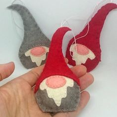 mini felt elves - Felt gnome ornament - Christmas elf nordic decoration - scandinavian - red grey white green home decor for her Christmas Crafts Pin ? Felt Christmas Decorations, Felt Christmas Ornaments, Christmas Gnome, Christmas Projects, Felt Projects, Scandinavian Christmas Ornaments, Christmas Ideas, Craft Projects, Christmas Christmas