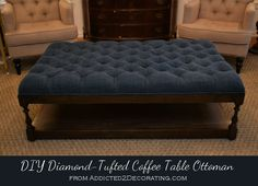 diy diamond tufted coffee table ottoman, painted furniture, My completed diamond upholstered coffee table ottoman inspired by one I saw at Layla Grayce for over 1200 Diy Ottoman, Ottoman Table, Tufted Ottoman, Ottoman Storage, Ottoman Cover, Large Ottoman Coffee Table, Bedroom Ottoman, Ottoman Ideas, Furniture Projects