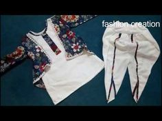 tulip shalwar stylish top with shrug cutting stitching tutorial easy method Boys Kurta Design, Kids Frocks Design, Baby Frocks Designs, Baby Girl Dress Patterns, Baby Dress Design, Baby Pageant Dresses, Baby Girl Dresses, Kids Blouse Designs, Kurta Designs