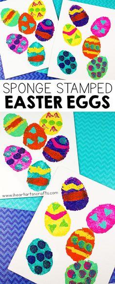 Sponge Painting Easter Egg Craft - I Heart Arts n Crafts Easter Toys, Easter Art, Easter Crafts For Kids, Crafts For Kids To Make, Kid Crafts, Easter Activities, Spring Activities, Preschool Activities, Sponge Painting