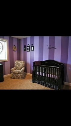 purple striped walls. Maybe do in pink or even teal for Alice in Wonderland room? I like the purple though too