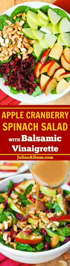 Apple Cranberry Spinach Salad with Balsamic Vinaigrette - healthy, delicious, vegetarian,gluten free recipe! #Salads