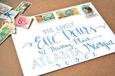 making hand-written letters and cards that much more lovely! Hand Lettering Envelopes, Calligraphy Envelope, Envelope Art, Addressing Envelopes, Calligraphy Letters, Addressing Letters, Handwriting Analysis, Handwriting Fonts, Penmanship