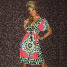 5.31$  Watch more here  - Retro Women Bohemian Dress Paisley Print V-Neck Short Sleeve Beach Wear Summer Dress
