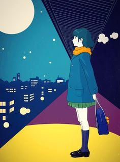 Painting, Digital, Untitled by Sai Tamiya - Art Limited Japanese Art Modern, People Illustration, International Artist, Tamiya, Aesthetic Art, Cool Artwork, Moonlight, Design Art, Contemporary Art