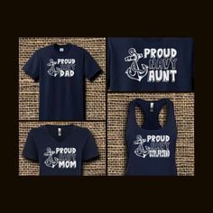871a6571 Proud Navy Family Shirt Navy Blue Shirts, Navy Military, Crew Neck Shirt,  Family