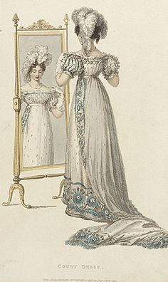 Ackerman's Repository, Court Dress, September 1822.     What a clever way to show the front AND the back of a gown!