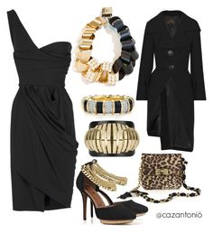 """The LBD"" by cazantonio on Polyvore featuring Lanvin, Louis Vuitton, Vivienne Westwood Anglomania, Tiffany & Co., Givenchy, Preen, leopard print, statement necklaces and one shoulder dresses"