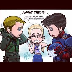 Oliver Queen, Ray Palmer, and Felicity Smoak love triangle fanart by lordmesa-art