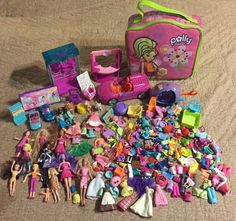 Large Lot Polly Pocket Small Dolls Accessories Clothes Cars Helicopter Case #PollyPocketOthers #MixedLot