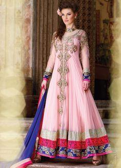 Pink Net Embroidered Anarkali Dress