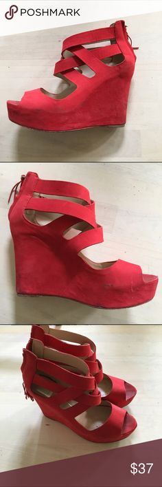 Dolce Vita heels This style is so hard to find have been worn and have a few scuffs. Deep red / pink very beautiful Dolce Vita Shoes Wedges