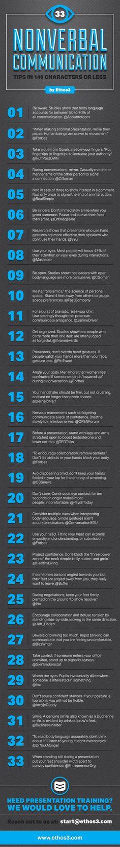 33 consejos sobre comunicación no verbal en 140 caracteres #infografia marketing