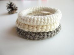 Wool Crochet Bracelet. Neutral Color Bangle. Minimalist Fashion Wool Jewelry. Pure Wool Bangles