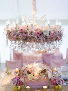 Beautiful floral chandelier - would be pretty on a shepherd's hook for isle decor.