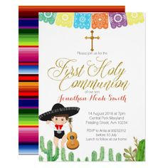 Cactus First Holy Communion Invitation Boy Custom Office Party Invitations #office #partyplanning
