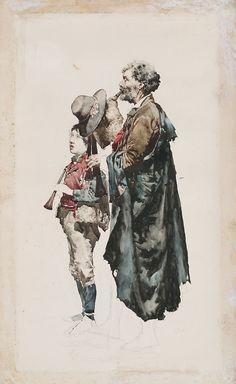 Gran dibujo de Tapiró: Zampognaro y pifferaro