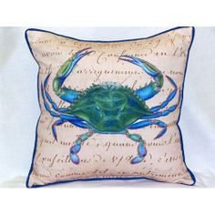 Male Blue Crab Beige Pillow by Betsy Drake and available at Coastal Style Gifts!