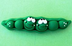 Polymer Clay Fridge Magnet PEAS in a pod by ClayCutiesbySabrina