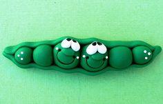 Polymer Clay Fridge Magnet PEAS in a pod by ClayCutiesbySabrina
