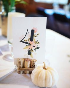 awesome vancouver wedding Festive table numbers for this October wedding. #pumpkins by @efraserphoto  #vancouverwedding #vancouverwedding