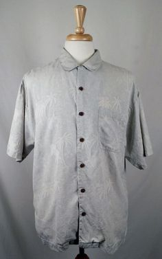 TOMMY BAHAMA Men's 100% Silk Short Sleeve Blue Gray Hawaiian Shirt Large EUC #TommyBahama #Hawaiian