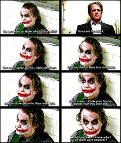 Joker---he really is a truly interesting and intriguing character. Just all of his character traits and flaws flow together flawlessly, and his and batmans relationship is so perfectly complicated and executed. A beautiful character, really