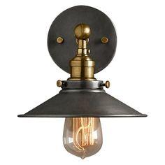 Amonson Lighting Metal Filament Wall Light, Aged Steel