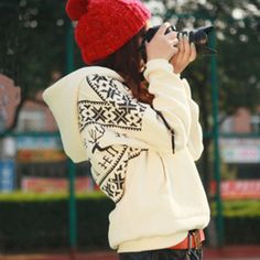 casual fleece hooded sweater pullover